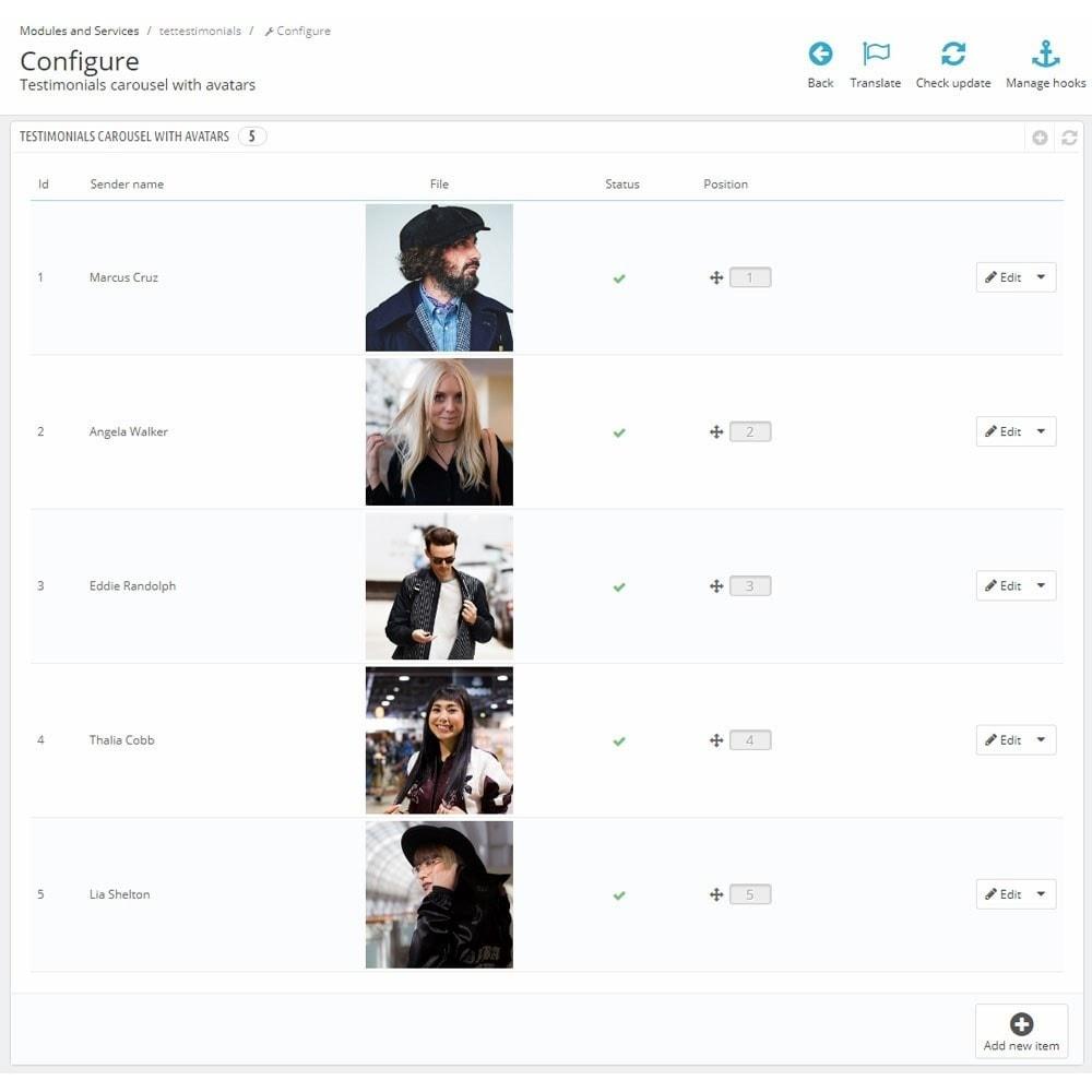 module - Recensioni clienti - Testimonials carousel with avatars - 5