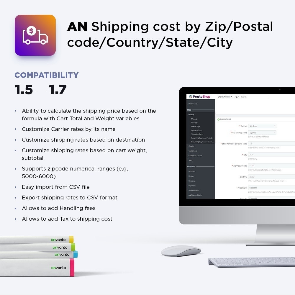 module - Shipping Costs - Shipping cost by Zip, Postal code, Country, State, City - 1