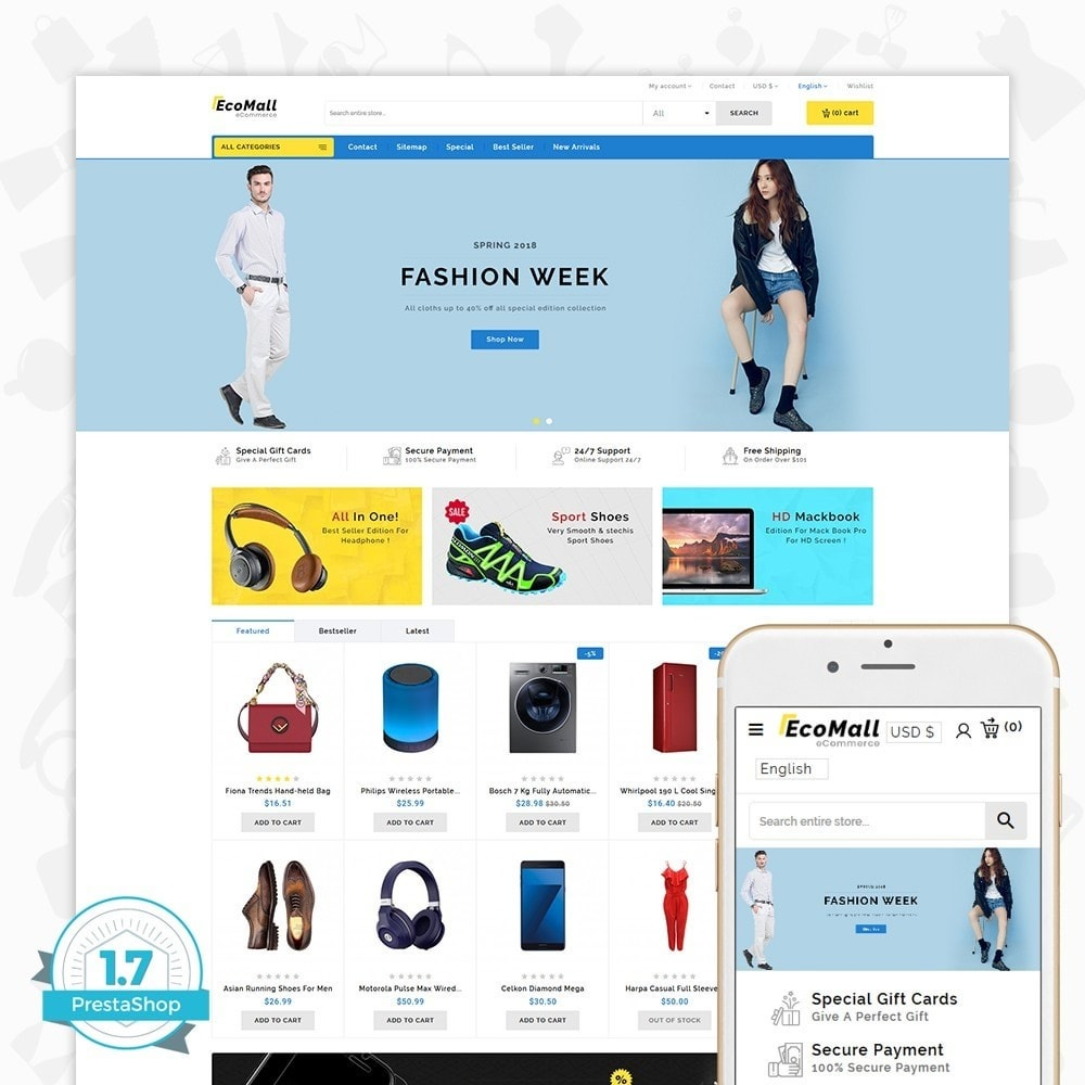 theme - Elettronica & High Tech - EcoMall - The Mega Ecommerce Store - 1