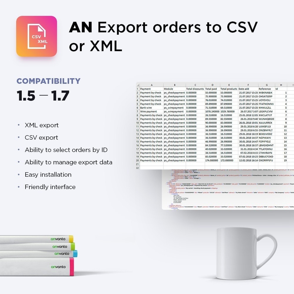 module - Import & Export de données - Export orders to CSV or XML - 1