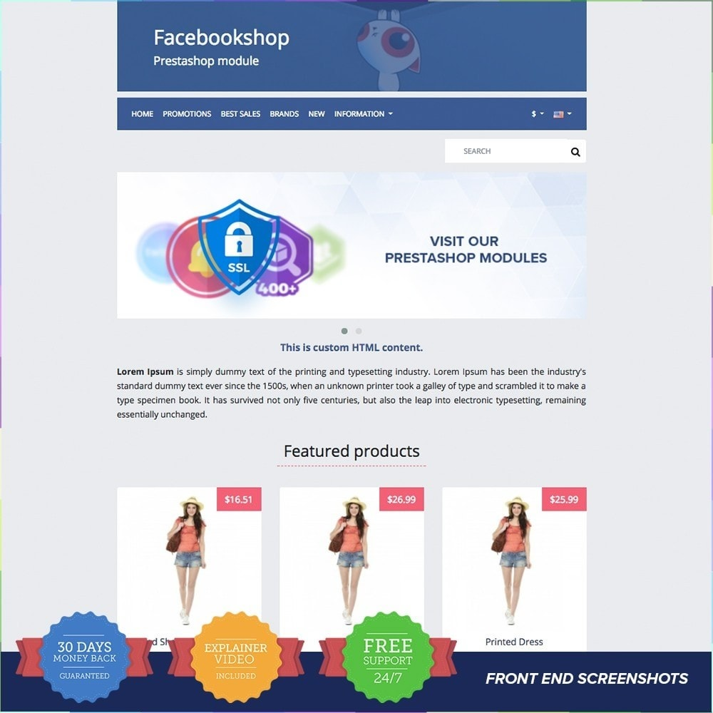 module - Prodotti sui Facebook & Social Network - Social Network Shop PRO - 2