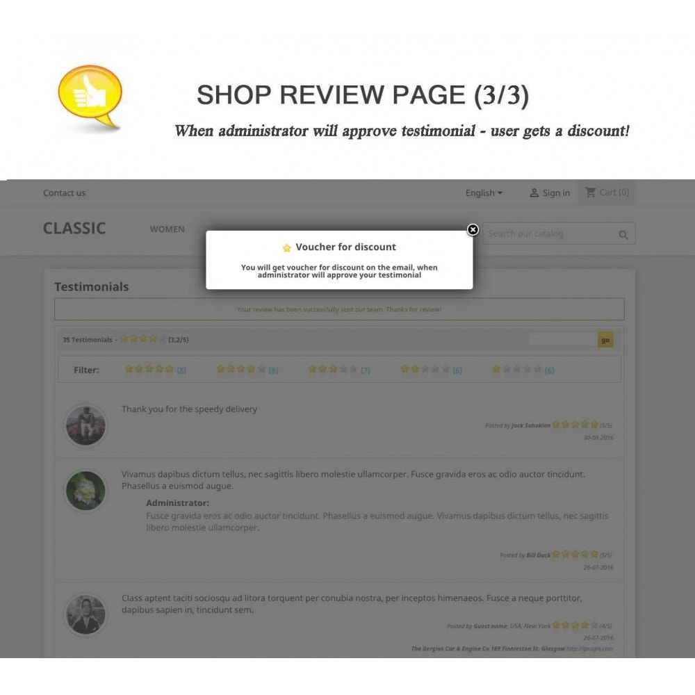 module - Отзывы клиентов - Shop Reviews + Avatars + Reminder + Rich Snippets - 3
