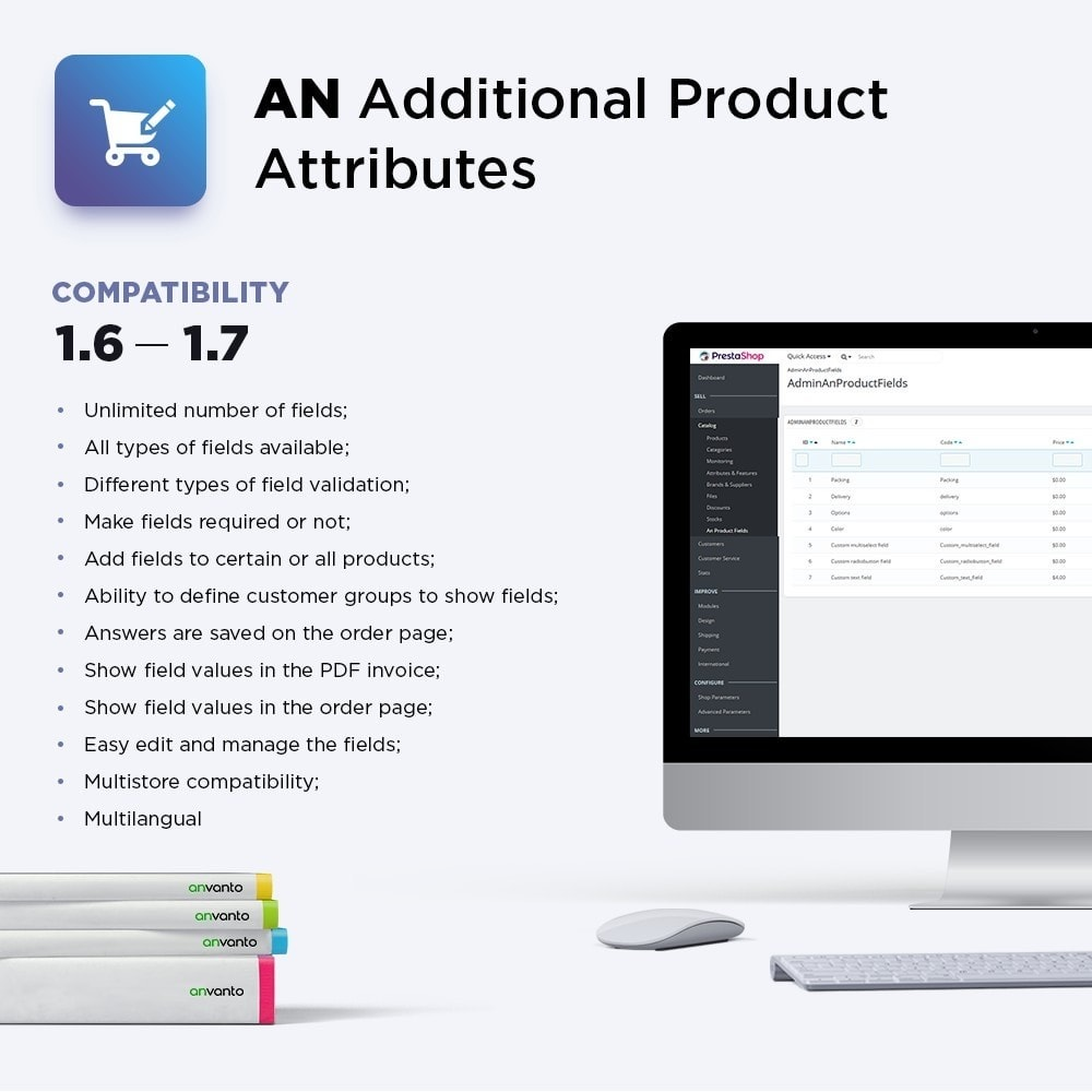 module - Combinaciones y Personalización de productos - Additional Product Attributes / Custom Product Fields - 1