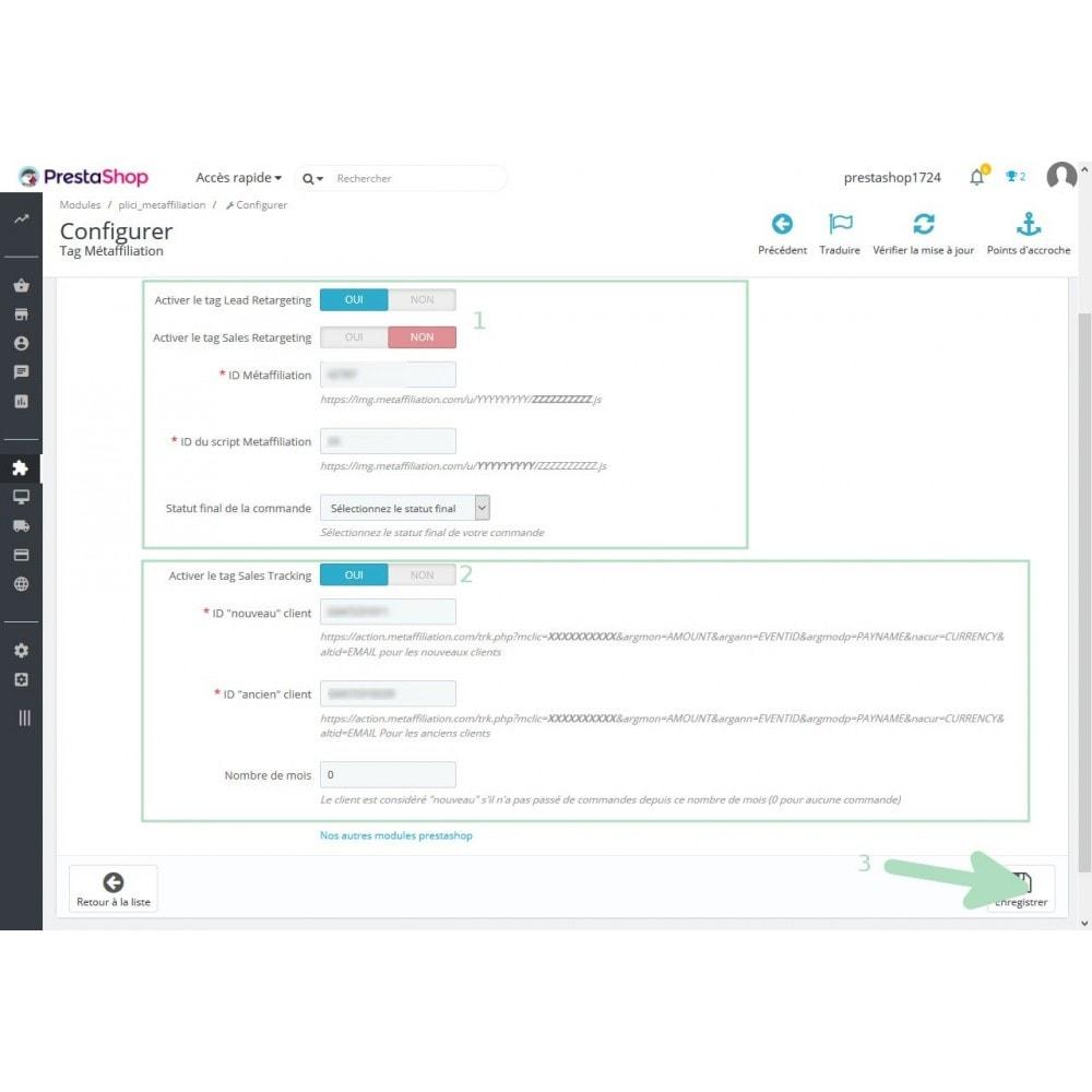 module - Remarketing & Paniers Abandonnés - Intégration des tags Métaffiliation - 2