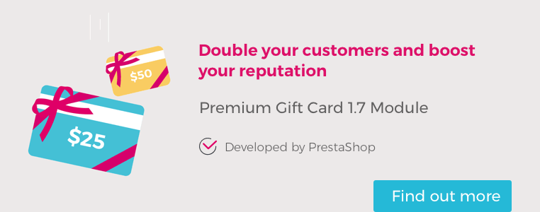 Premium Gift Card 1.7 Module : One sale = Two customers!